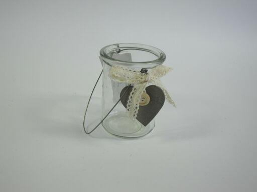 Windlichtglas mit Drahthenkel und Herz (#123956000)