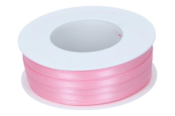 Doppelsatin Band 6mm, 50m, rosa