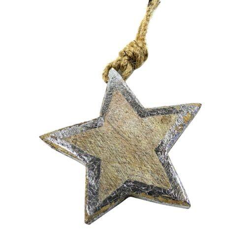 Stern aus Holz auf Jutefaden, Ø 8cm