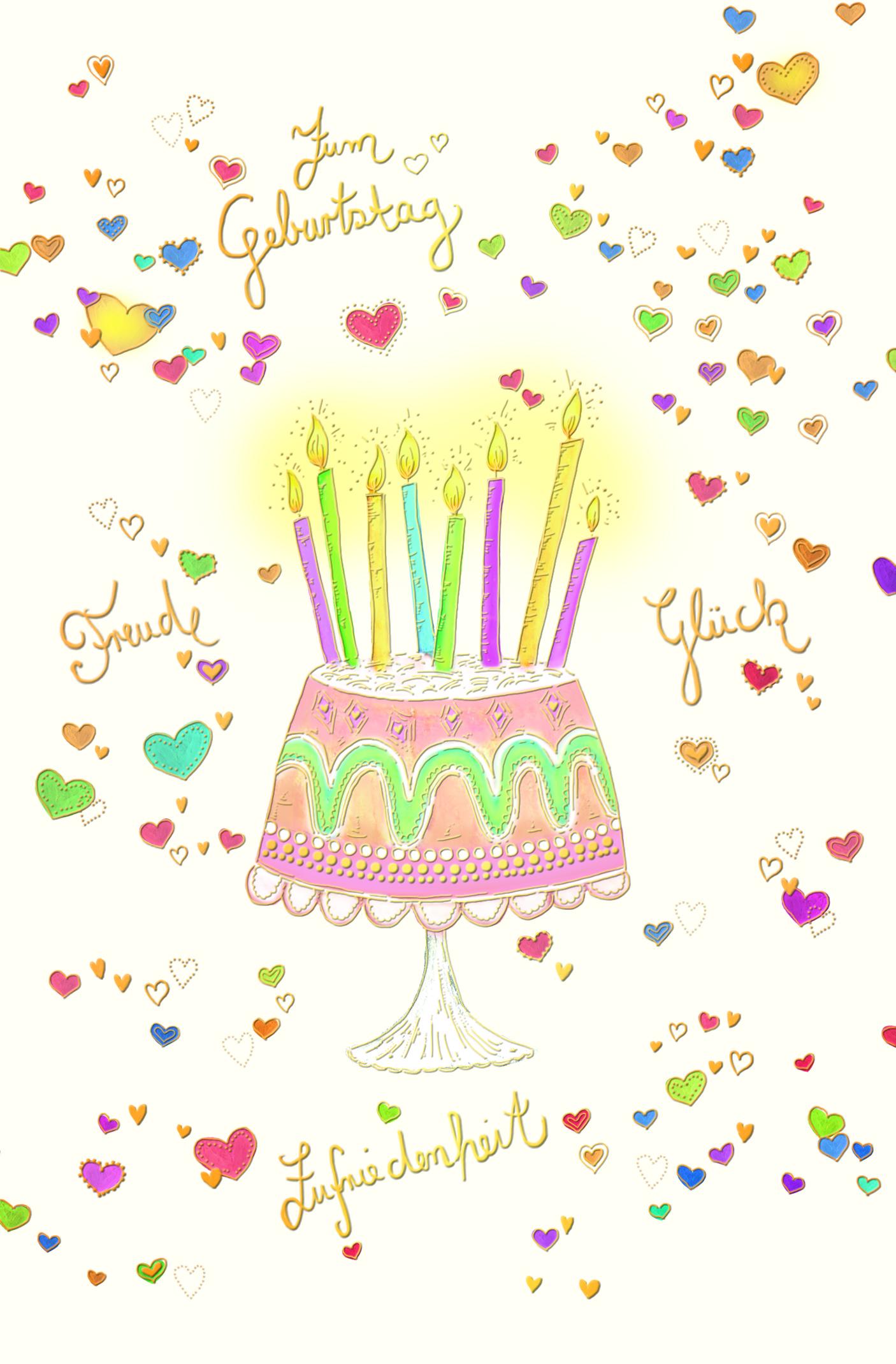 Zum Geburtstag Freude,Glück,Zufriedenh.
