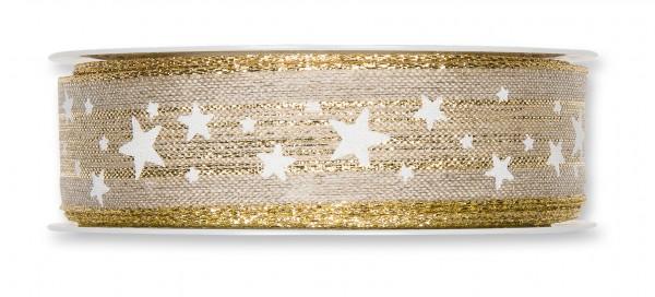 Leinen Band Sterne, 25mm, Ve 1 Rll = 15m
