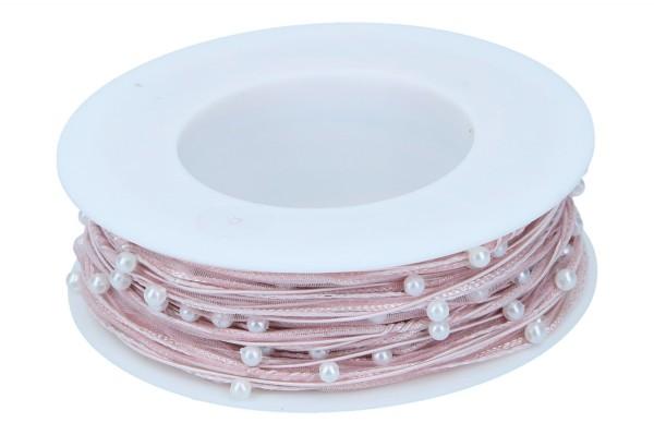 Organzaband mit Perlen, 5mm, 15m, rosa
