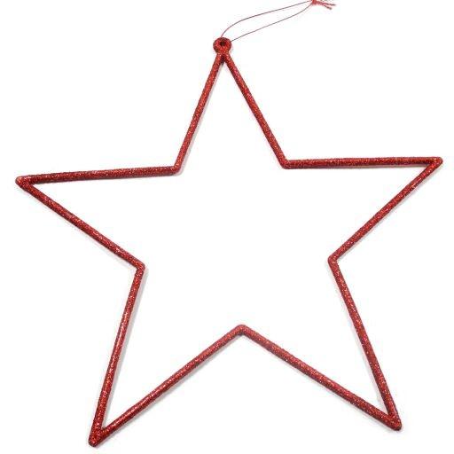Sternhänger m.Glitter ROT 32cm Ve=4Stk.