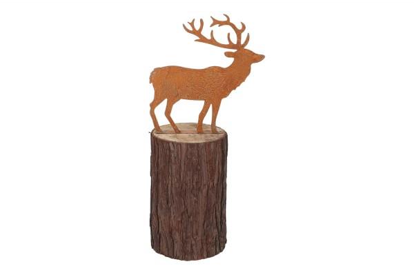 Hirsch auf Baum Höhe 32cm, Ø ca. 8,5cm