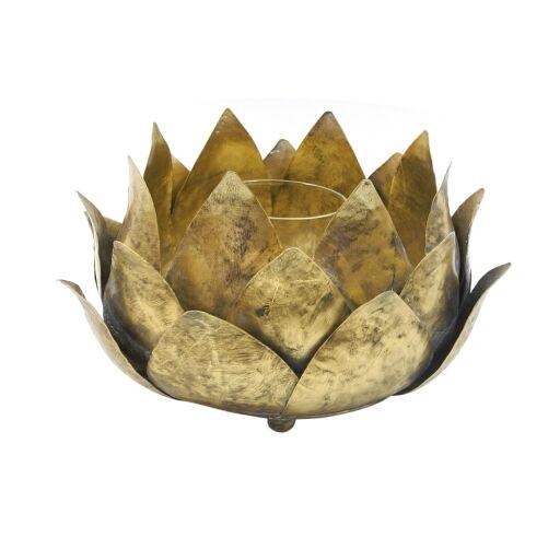 Windlicht Blätter D17,5H10,5cm GOLD-Anti