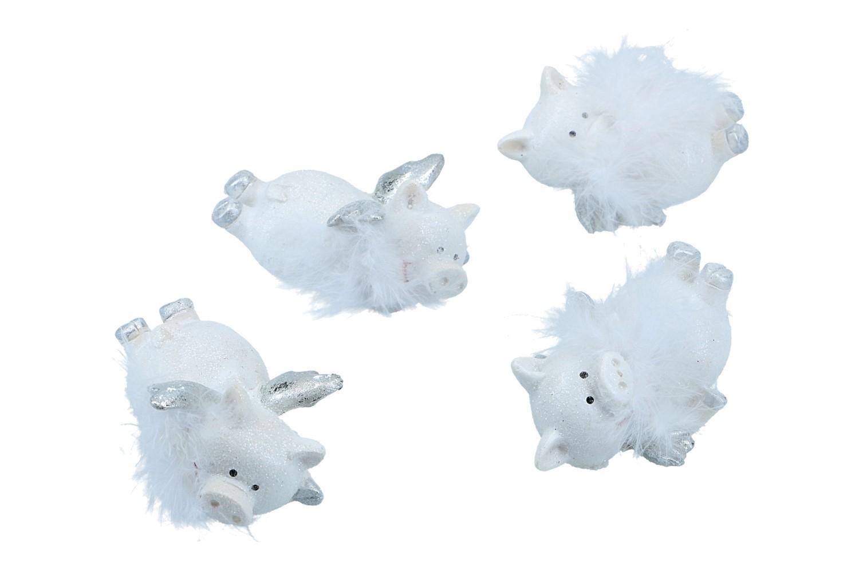 Schweine mit Flügel und Feder,  4cm