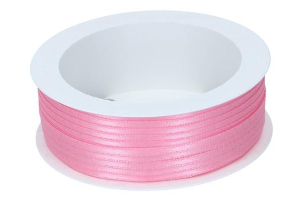 Doppelsatin Band 3mm, 50m, rosa