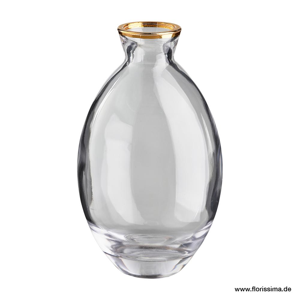 Vase schlank mit Goldrand D6H12cm (#120684092)