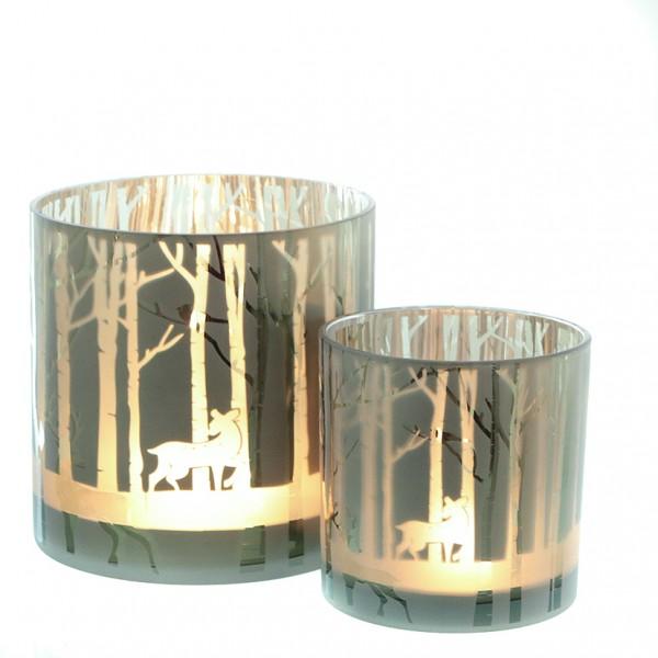 Windlichtglas 'Wald' Gr. M, Ve. 1