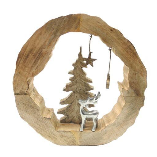 Holzring mit Alu Rentier 46x49x7cm, 1 St (#130987000)