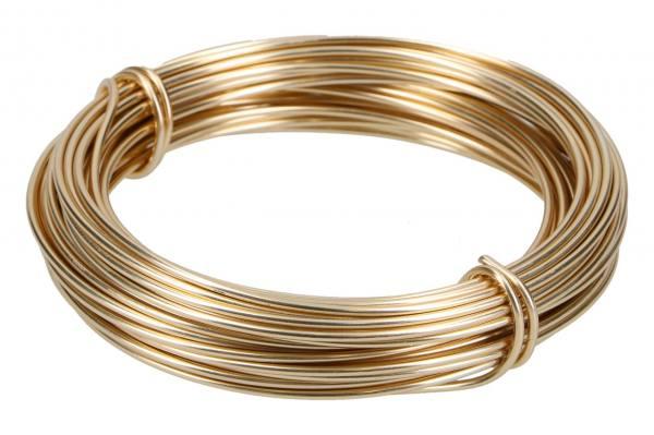 Alu Draht 2mm, 12m, hell-gold