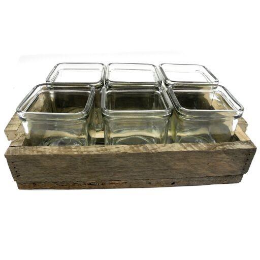 Holz Tray mit 6xTeelichtglas, 30 x 19cm
