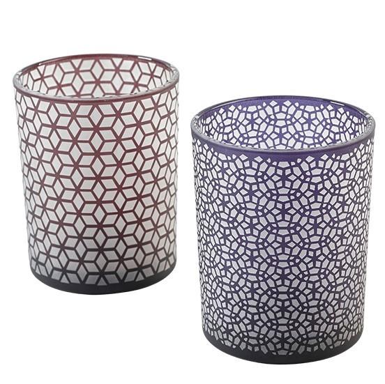 Teelichtglas D10H12,5cm, 2fach sortiert (#120656000)