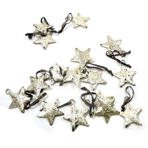 Sterne auf Jutafaden D5cm, 12Stück