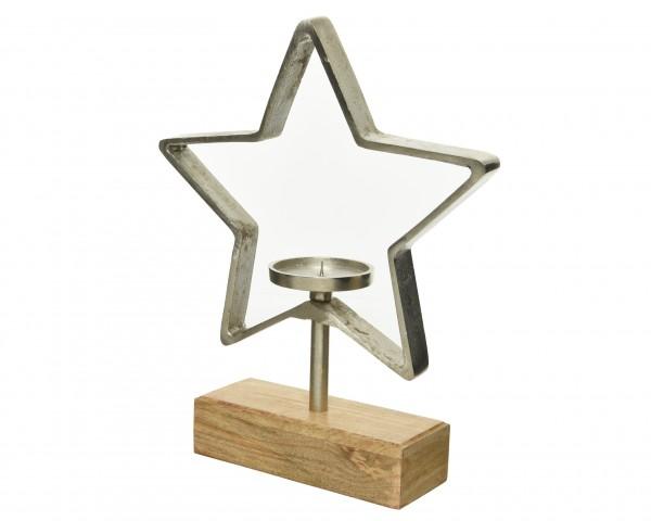Kerzenhalter Stern auf Holzfuß, 1 Stück