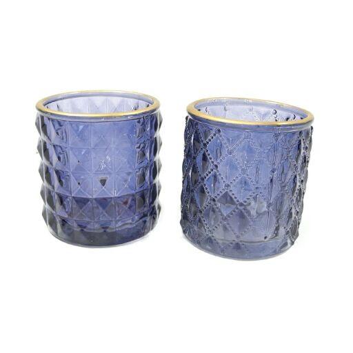 Teelichtglas 2fach sortiert D7 H 7cm