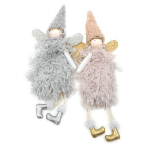 Engel mit Federkleid 30cm GRAU/ROSA