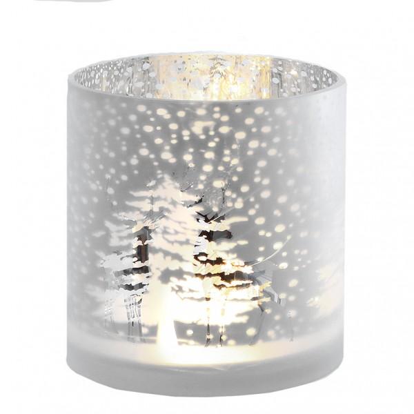Windlichtglas 'Winterwald' Gr. M, Ve. 1