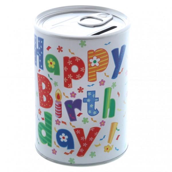 Spardose 'happy Birthday' D7,5cm H11cm