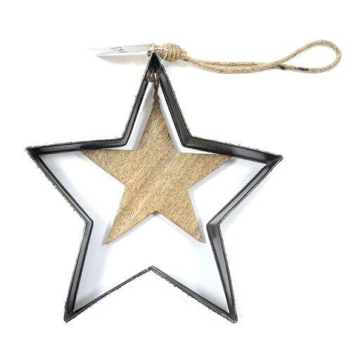 Stern im Stern auf Jutefaden D22cm. 1St.