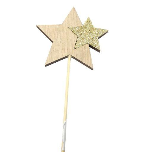 Stern Stecker Natur 7/30cm Ve = 12 Stk.