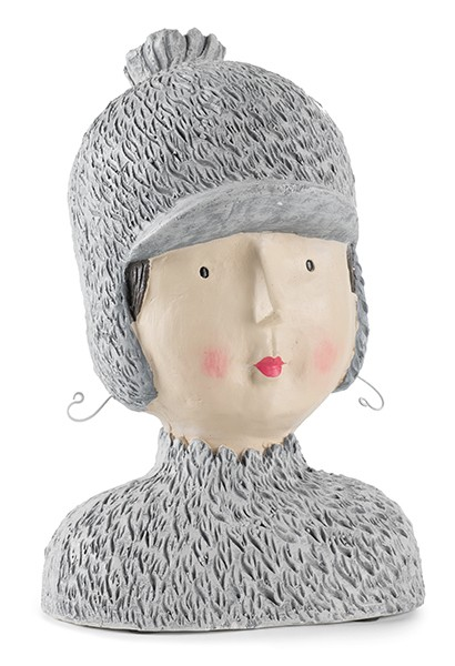 Ladykopf mit Pudelmütze H25cm, 1 Stück