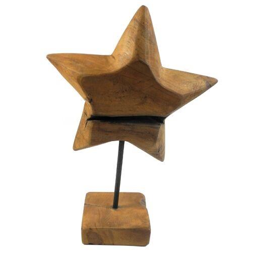 Stern aus Holz auf Fuß, 20 x Höhe 32cm