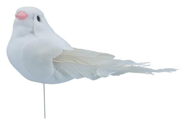 Taube mit Feder auf Draht, 12 Stück