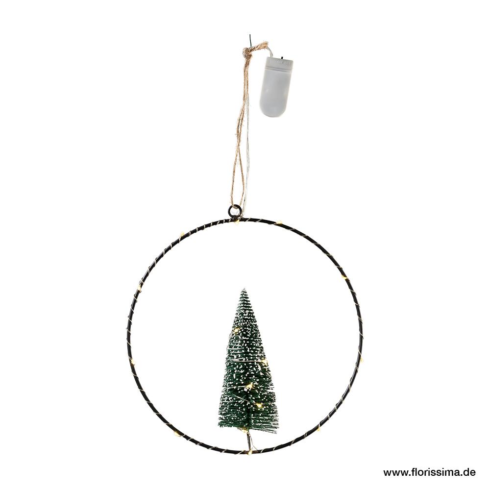Ring zum hängen mit Tanne und LED, D20cm (#100598000)