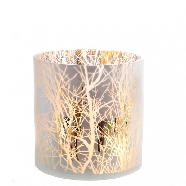 Windlichtglas 'Winterwald' Ø17 x H 17cm
