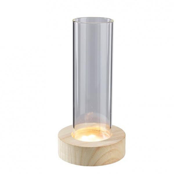 Vase auf Holzständer mit 7 LED & Timer