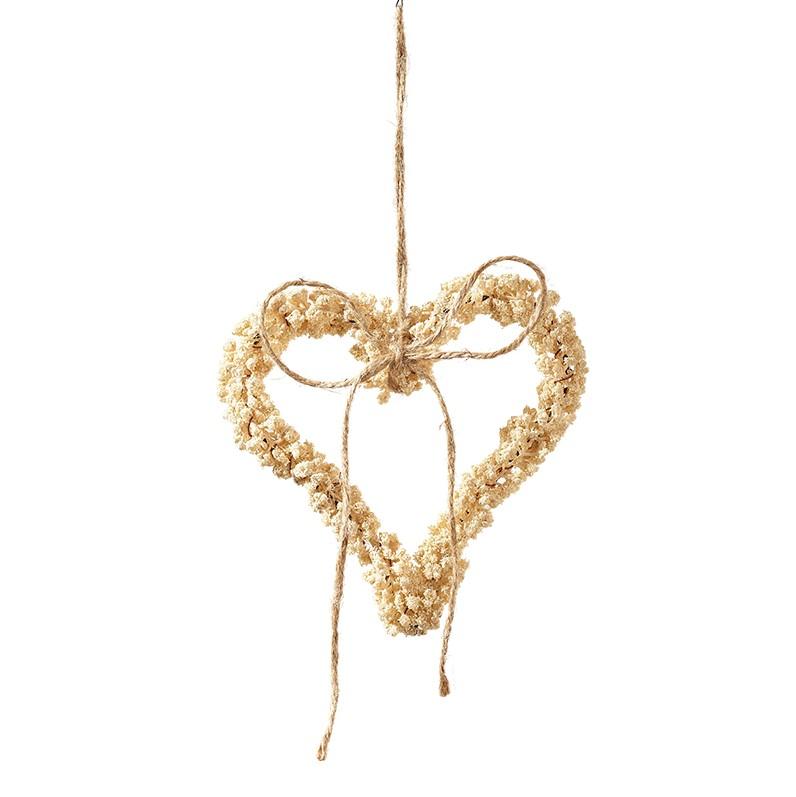 Herz auf Jutefaden D17cm, beige, Ve. 3 (#191223002)