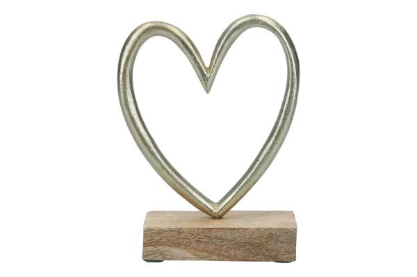 Herz auf Holzfuß, 12 x 4 x 15cm, 1Stück