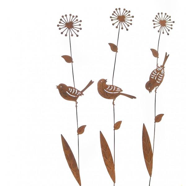 Stecker Blume mit Vogel 9 x L46cm, VE=1