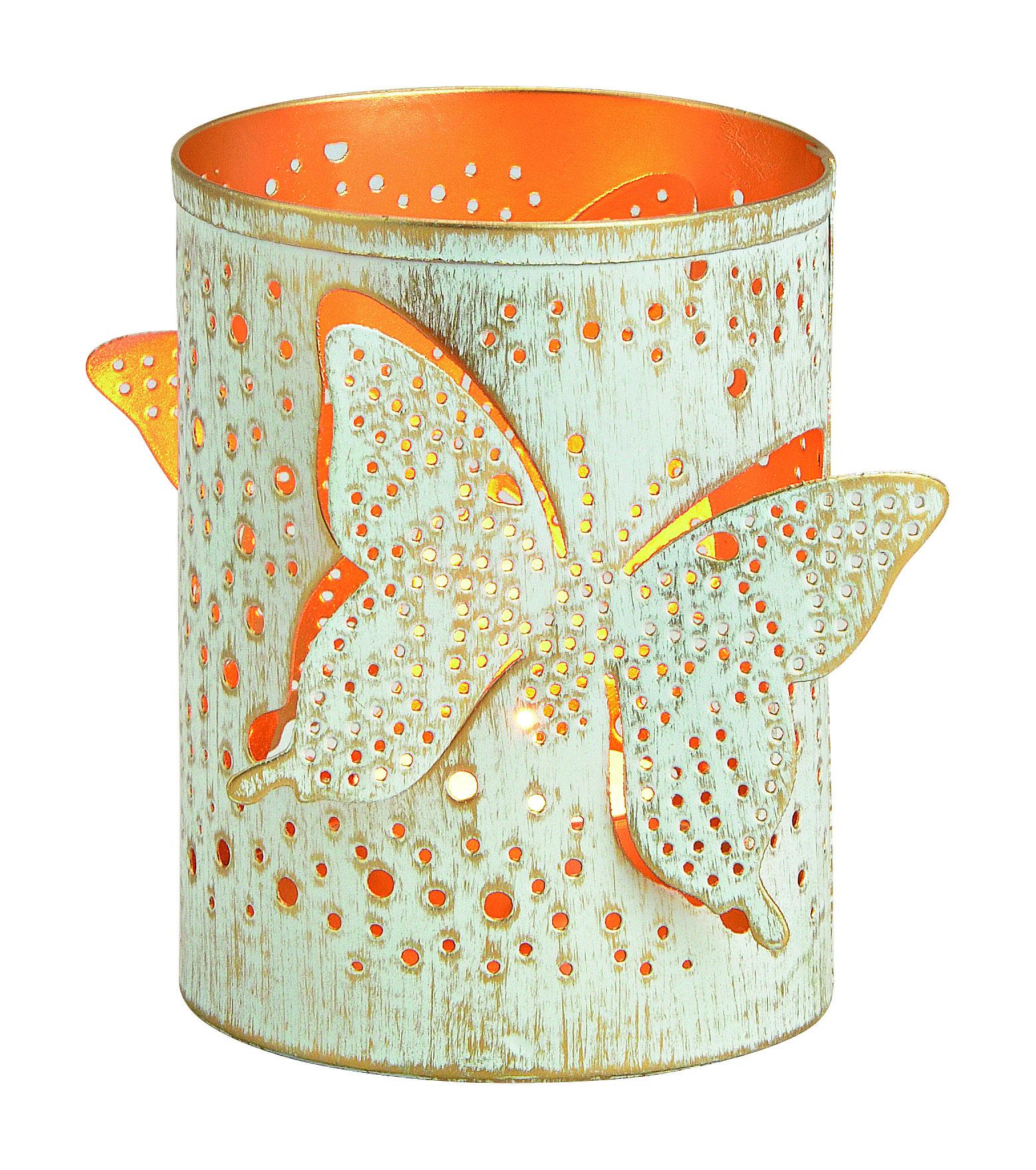 Windlicht Schmetterling D8 H13cm, Ve.1St