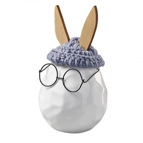 Hase mit Brille und Mütze, D9, H10cm (#142064000)