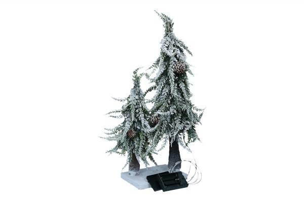 Bäume beschneit mit Zapfen & LED, H 50cm