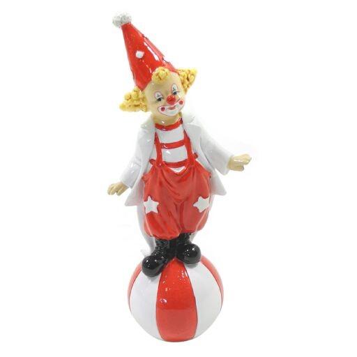 Clown auf Ball, H18cm, rot-weiss, Ve. 1 (#181337000)