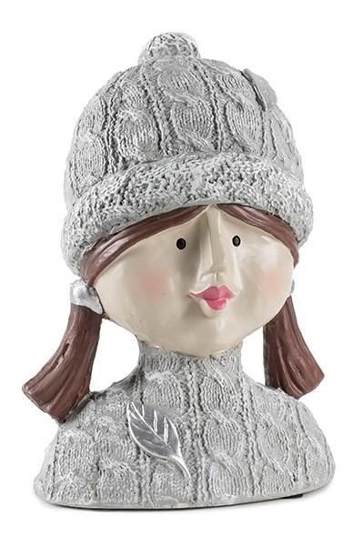 Ladykopf mit Pudelmütze 25cm, 1 Stück