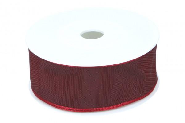 Formb. Drahtkantenband 40mm, dunkel rot