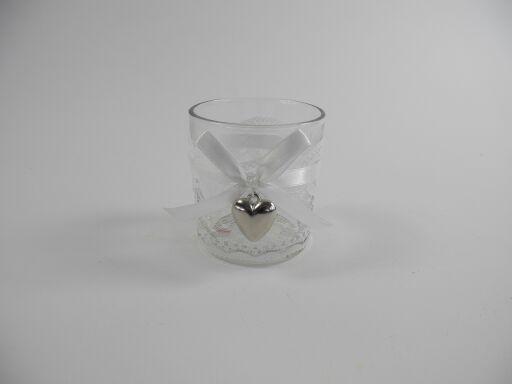 Teelichtglas mit Band und Herzdeko (#122177000)