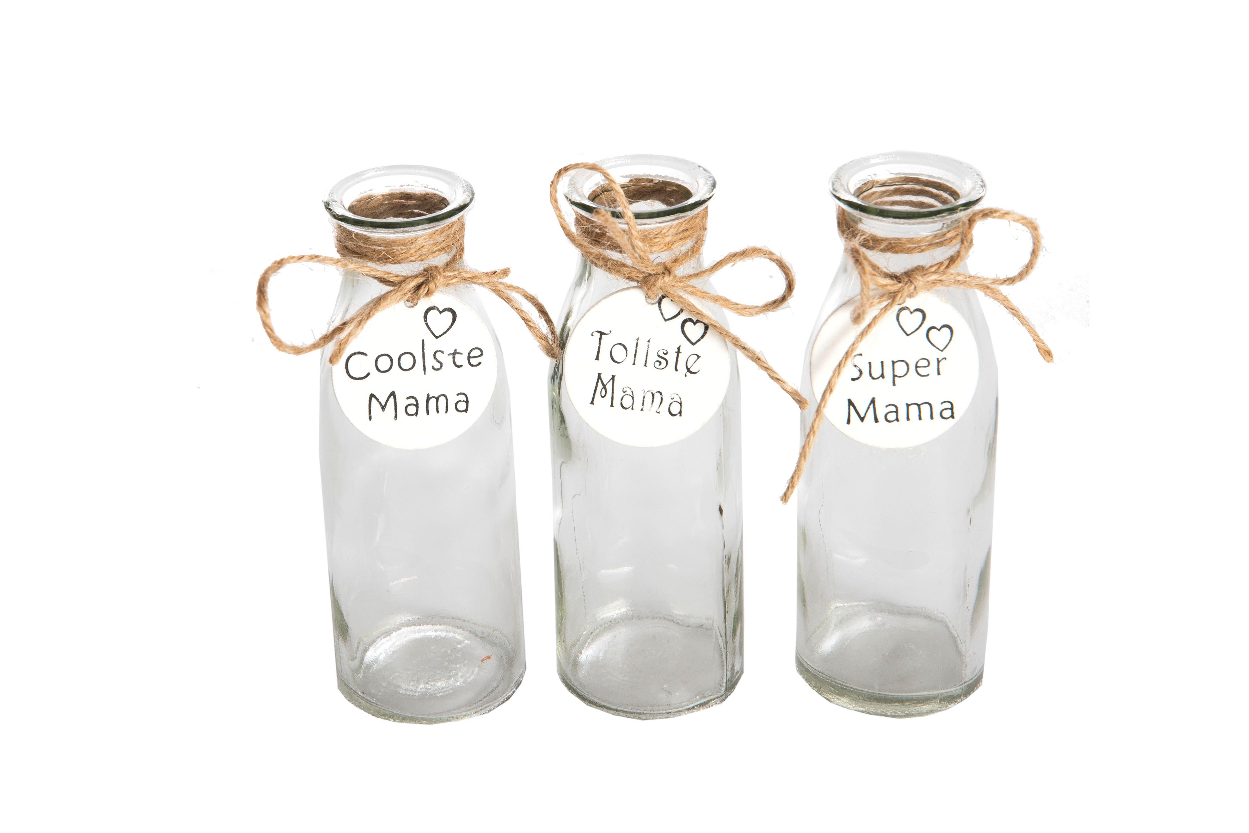 Glas Flaschen mit Anhänger Mama