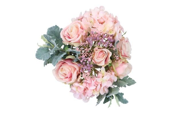 Hortensie-Rosen-Bouquet, Länge 28cm