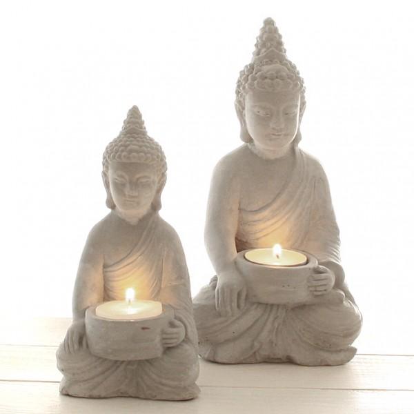 Teelichthalter 'Buddha', 11 x 11 x H21cm