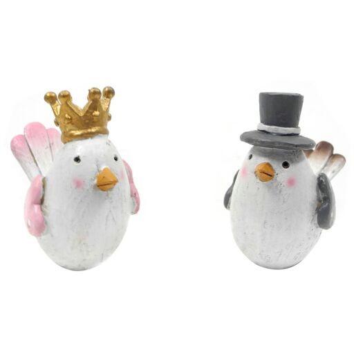Vogel Paar mit Hut und Krone H8cm, (#181321000)