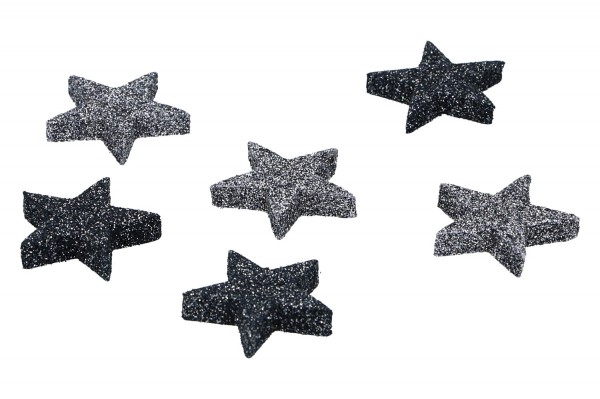 Sterne beglittert 4cm, 1 Box = 72 Stück