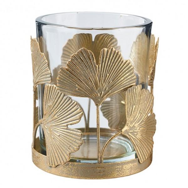 Teelichtglas mit Ginkgo Blatt, Ve. 1 (#153508000)