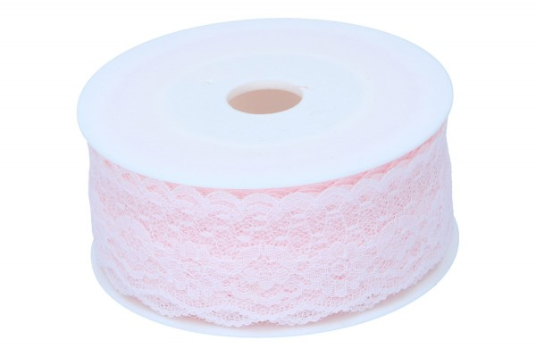 Dekoband, Spitze, Blume.37mm, 15m, rosa