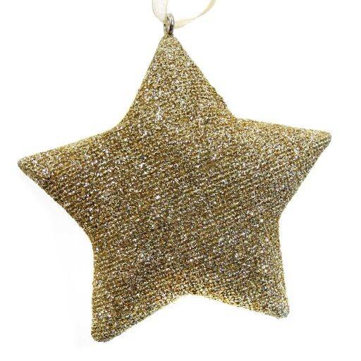 Sternhänger m.Glitter 7x8cm GOLD Ve=6Stk