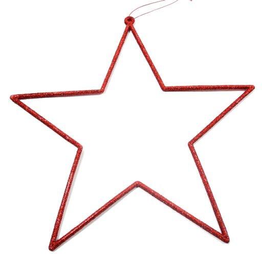 Sternhänger m.Glitter ROT 24cm Ve=6Stk.